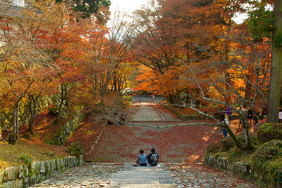 Temple Bishamon-do with red Maple Trees  Stairs in Autumn Foliage