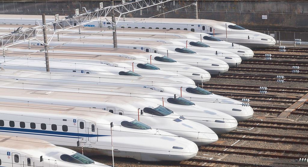 Shinkansen in the depot in Osaka. Editorial credit: EvergreenPlanet / Shutterstock.com