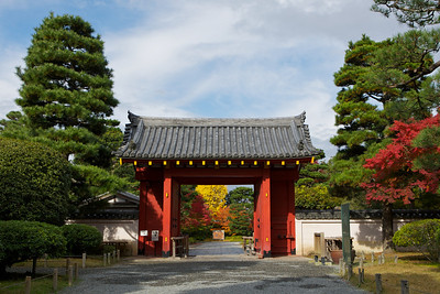 Byodo-in Temple, the Entrance Gate in Afternoon Sunshine  Japanese World Cultural Heritage in Uji City near Kyoto with Autumn Foliage