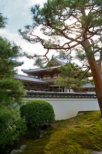 Byodo-in Temple, Garden at back side  Japanese World Cultural Heritage Building
