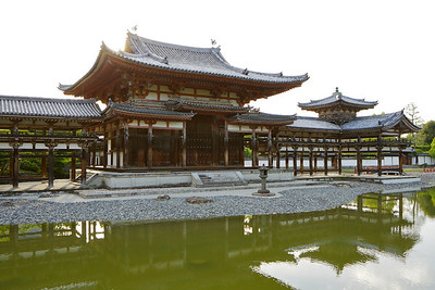 Byodo-in Temple with Back-light and Reflection