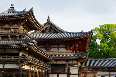 Byodo-in Temple, Roof to Phoenix Hall  Japanese World Cultural Heritage in Uji City near Kyoto in Spring
