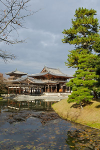 Byodo-in Temple from back with Reflection in Lake  Japanese World Cultural Heritage at Uji city, south of Kyoto