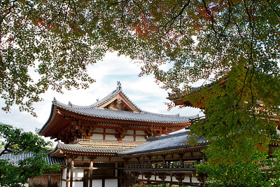 Byodo-in Temple framed with red and green Momiji (autumn foliage)  Japanese World Cultural Heritage Buildings in Uji City near Kyoto