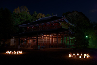 Temple Building at Chion-in Monastery at Night  Light up in the Dark