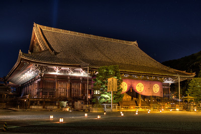 Temple Building at Chion-in Monastery  Night Illumination for Tourists