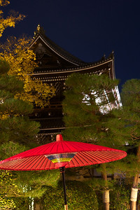 Decorative Red Umbrella standing in Front of Temple Building  At Chion-in Monastery, Kyoto, illuminated with Autumn Foliage