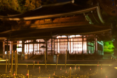 Incense in Front of a Temple Building  At Night in Kyoto, Chion-in Monastery