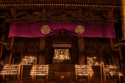 Candle Lights in Front of Golden Buddha at Temple  Chion-in Monastery Devotion Hall in Kyoto