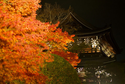 Red Maple Foliage in Front of Temple Building