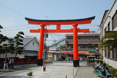 Torii gate at the entrance to Fushimi Inari Shrine