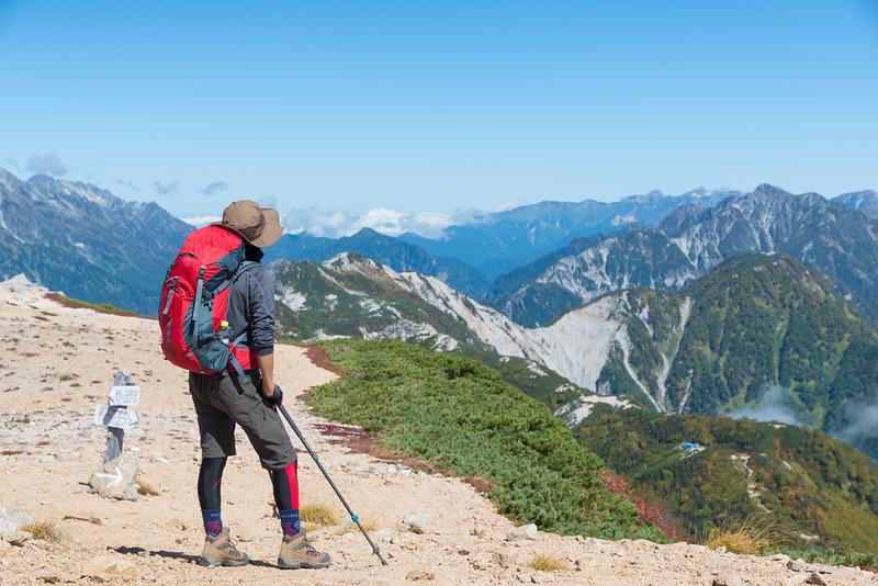 Hiker in the Japan Alps. Editorial credit: Yusei / Shutterstock.com