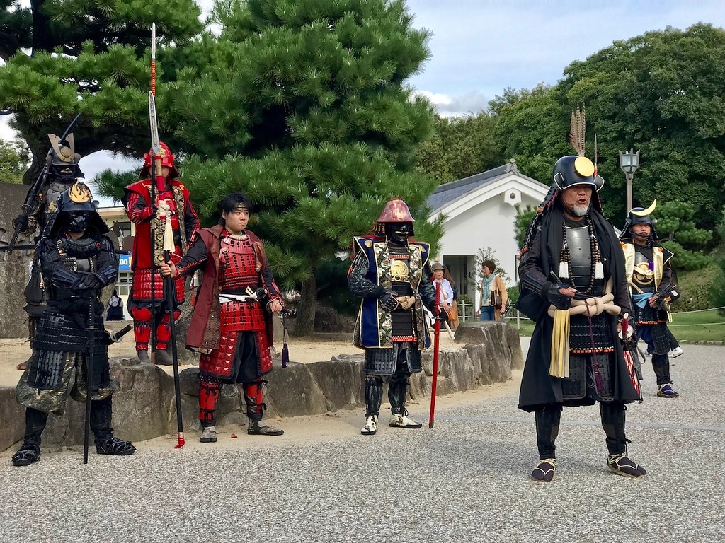 Local residents dressed up as samurai at Himeji Castle.