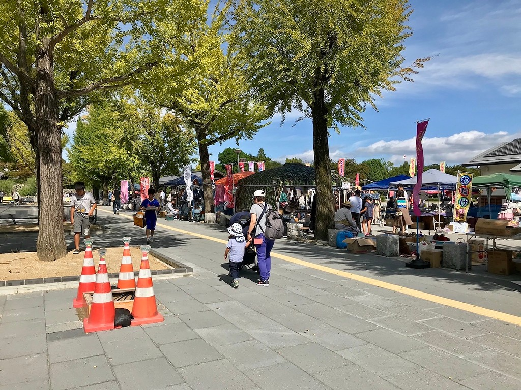 Local Himeji residents selling stuff.