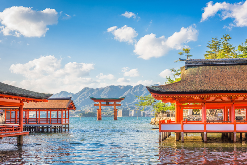 """Floating"" torii (shrine gate) at Miyajima. Editorial credit: Sean Pavone / Shutterstock.com"