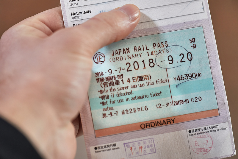 Japan Rail Pass ticket side. Editorial credit: Peter Gudella / Shutterstock.com
