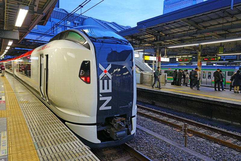 Narita Express train in Tokyo. Editorial credit: EQRoy / Shutterstock.com