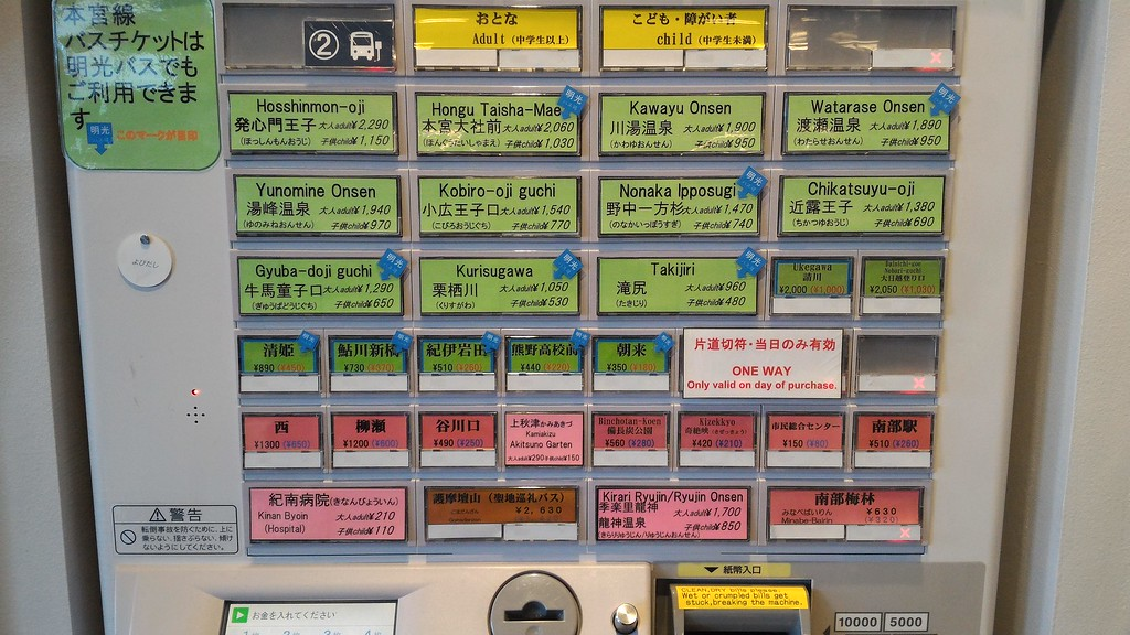 Bus ticket machine close-up