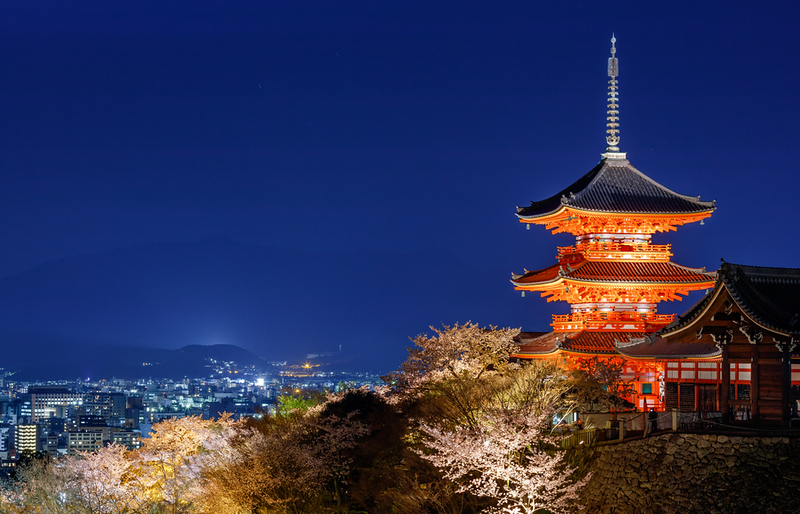 Kiyomizu-dera during cherry blossom light-up. Editorial credit: lkunl / Shutterstock.com