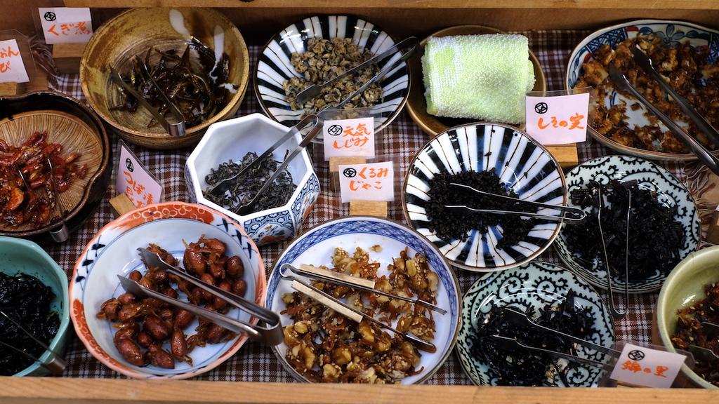 Bowls of tsukudani samples in Nishiki Market.