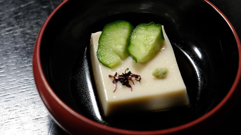 Sesame tofu - sticky and wobbly.