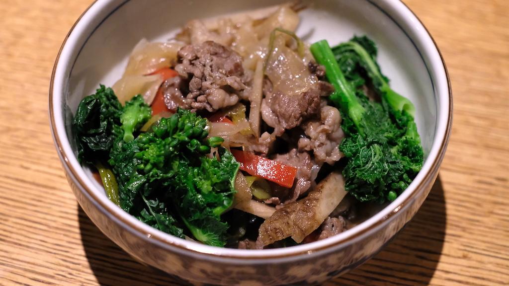 Sukiyaki-style spring vegetable simmer.