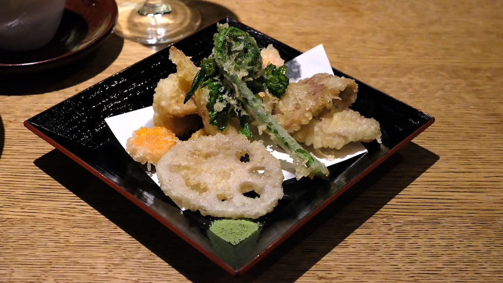Spring vegetable and duck tempura.