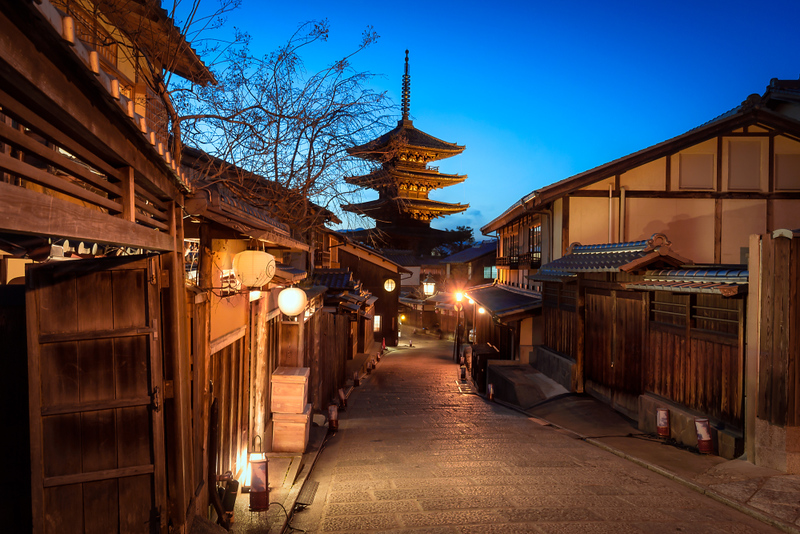 Yasaka-no-to Pagoda in Southern Higashiyama in the evening