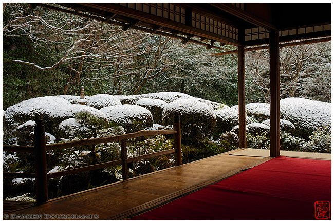 Shisen-do Garden under a dusting of snow image copyright Damien Douxchamps