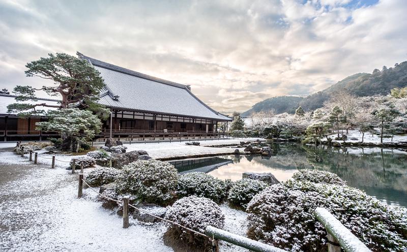 Snow at Tenryu-ji Temple in Kyoto's Arashiyama district