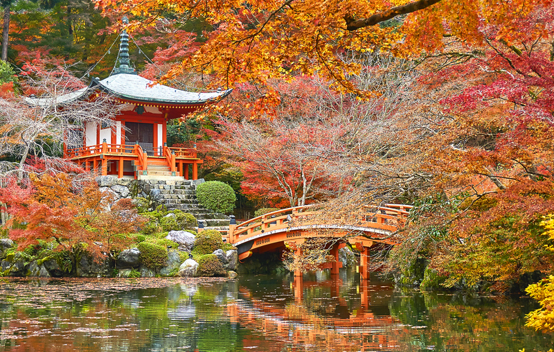 Daigo-ji Temple garden in Autumn