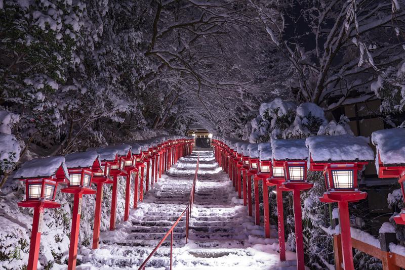 Snow at Kibune-jinja Shrine in Kibune