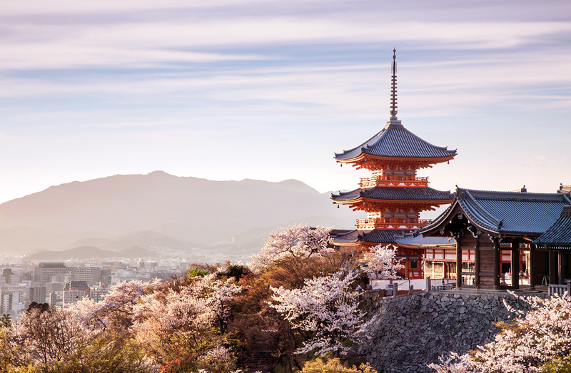 Pagoda at Kiyomizu-dera Temple in spring
