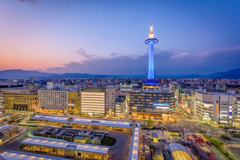 Kyoto Tower and Kyoto City seen from Kyoto Station