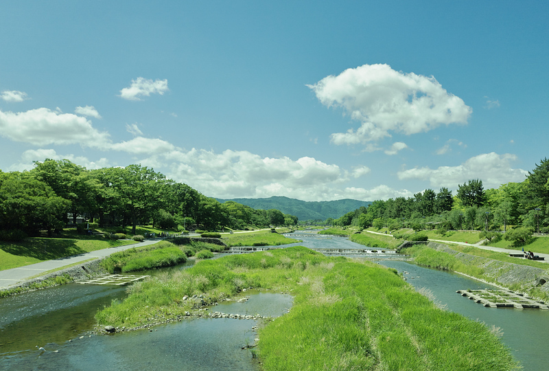 Kamo-gawa River in summer