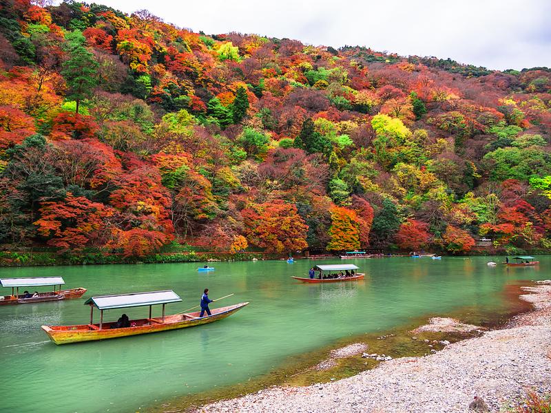 Boats on the Katsura-gawa River in Arashiyama