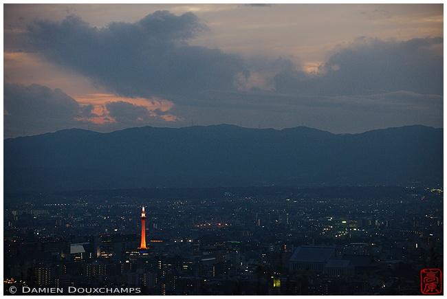 Kyoto Tower on a summer evening from Shogunzuka Viewpoint : copyright Damien Douxchamps