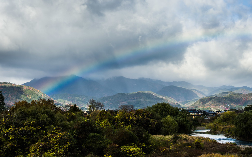Rainbow over Arashiyama  : copyright Jeffrey Friedl