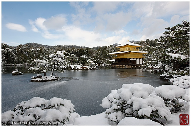 Kinkaku-ji Temple main hall under snow image copyright Damien Douxchamps