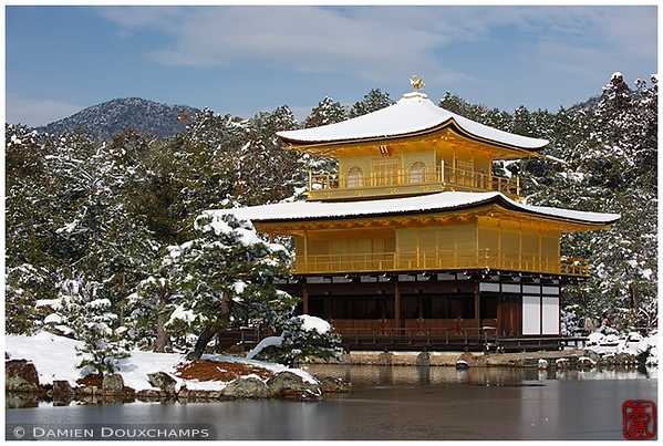 Kinkaku-ji Temple under snow: copyright Damien Douxchamps