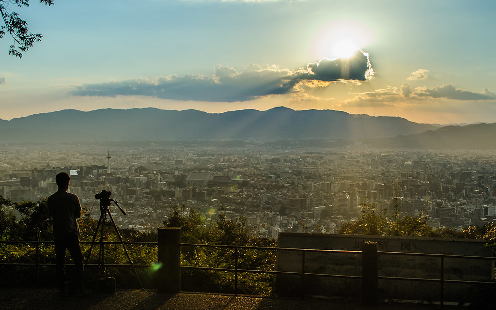 Afternoon view of Kyoto from the Shogunzuka viewpoint: copyright Jeffrey Friedl