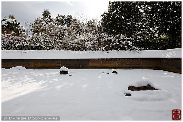 Rock garden at Ryoan-ji Temple under snow: copyright Damien Douxchamps