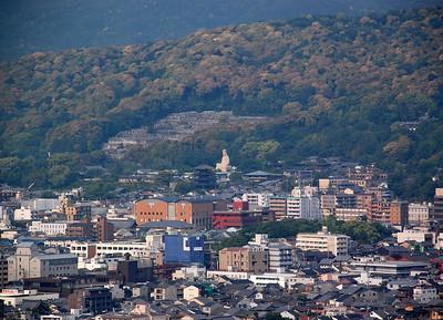 Ryozen Kannon and Yasaka Pagoda viewed from Kyoto Tower