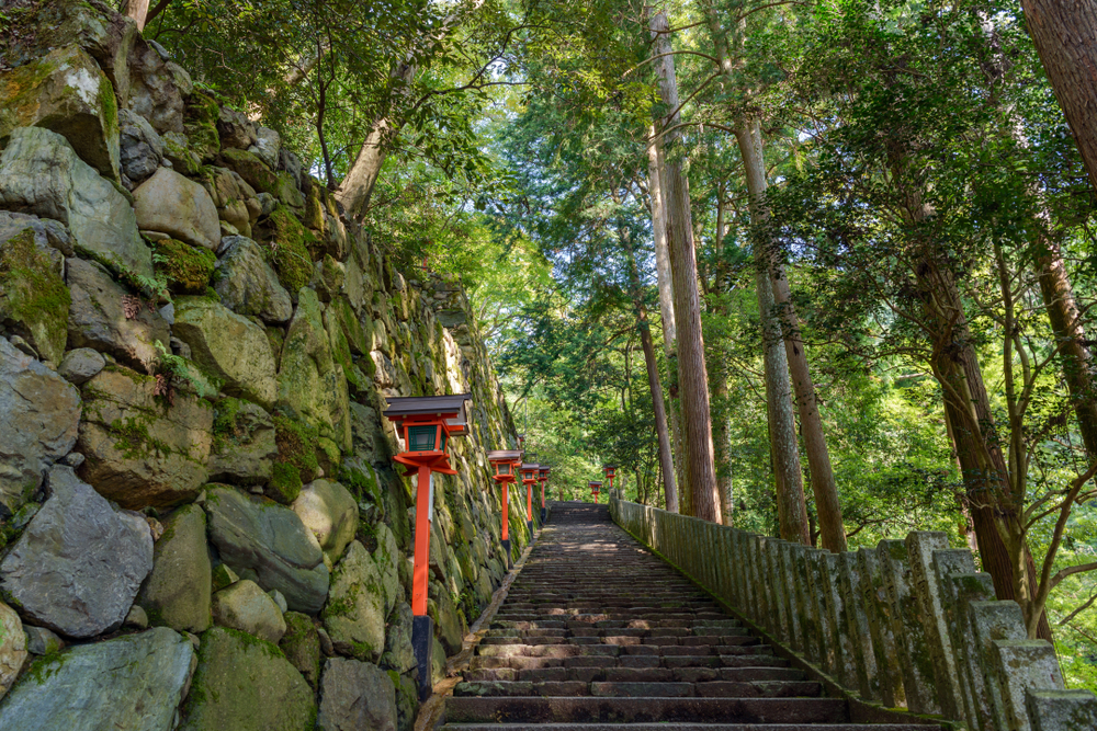 The steps up to Kurama-dera Temple. Editorial credit: mTaira / Shutterstock.com