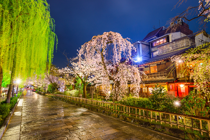 Gion Shirakawa in the evening. Editorial credit: Sean Pavone / Shutterstock.com
