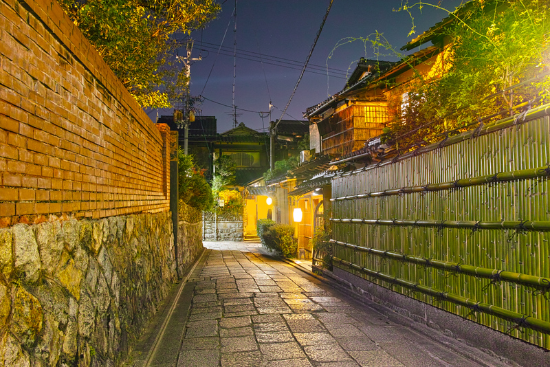 Ishibei-kojo Lane in the evening. Editorial credit: 7maru / Shutterstock.com