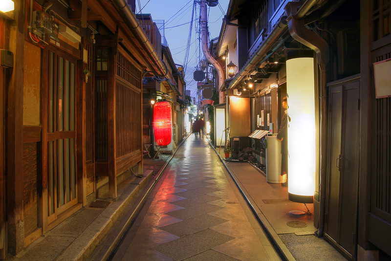 Pontocho Alley in the evening. Editorial credit: Mihai-Bogdan Lazar / Shutterstock.com