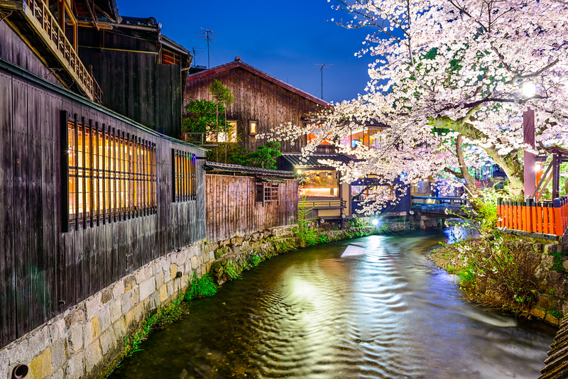 View from Tatsumi Bridge in Gion Shirakawa area. Editorial credit: ESB Professional / Shutterstock.com