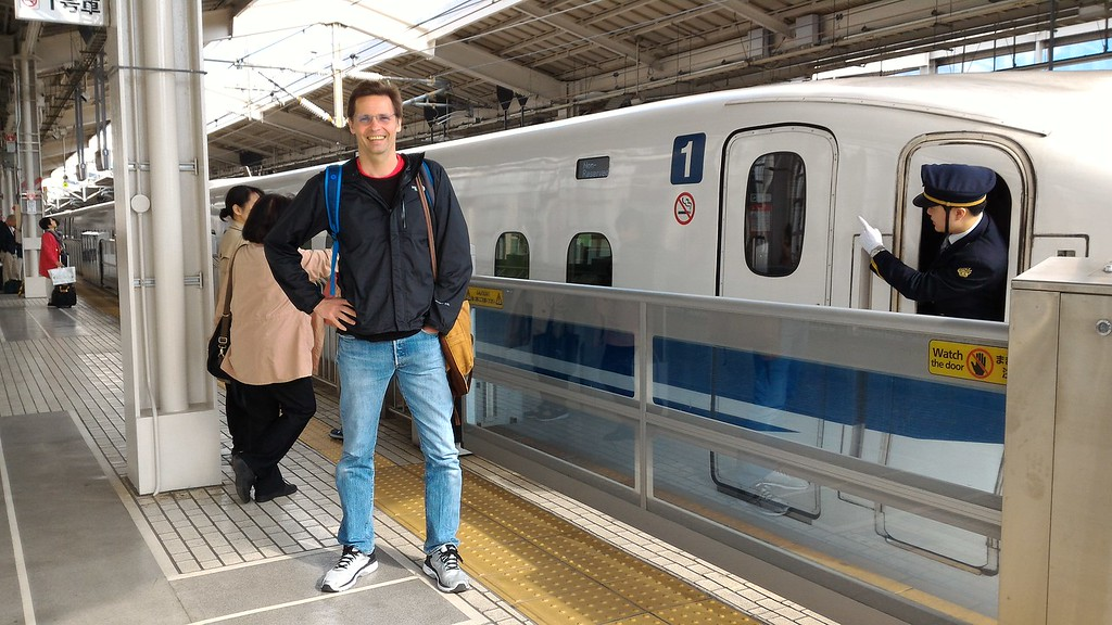Boarding the shinkansen at Kyoto