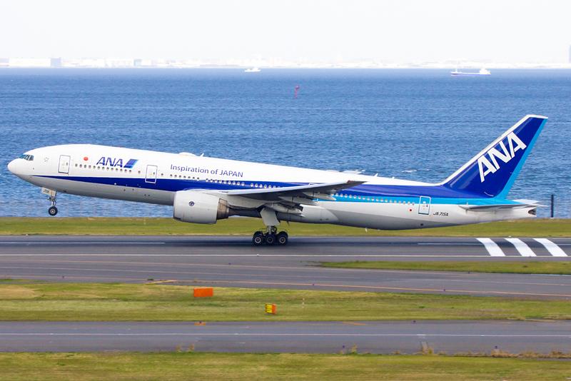 ANA plane at Haneda Airport in Tokyo. Editorial credit: KITTIKUN YOKSAP / Shutterstock.com